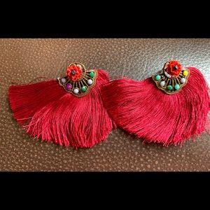 NWT - Burgundy Boho Tassel/Floral Earrings